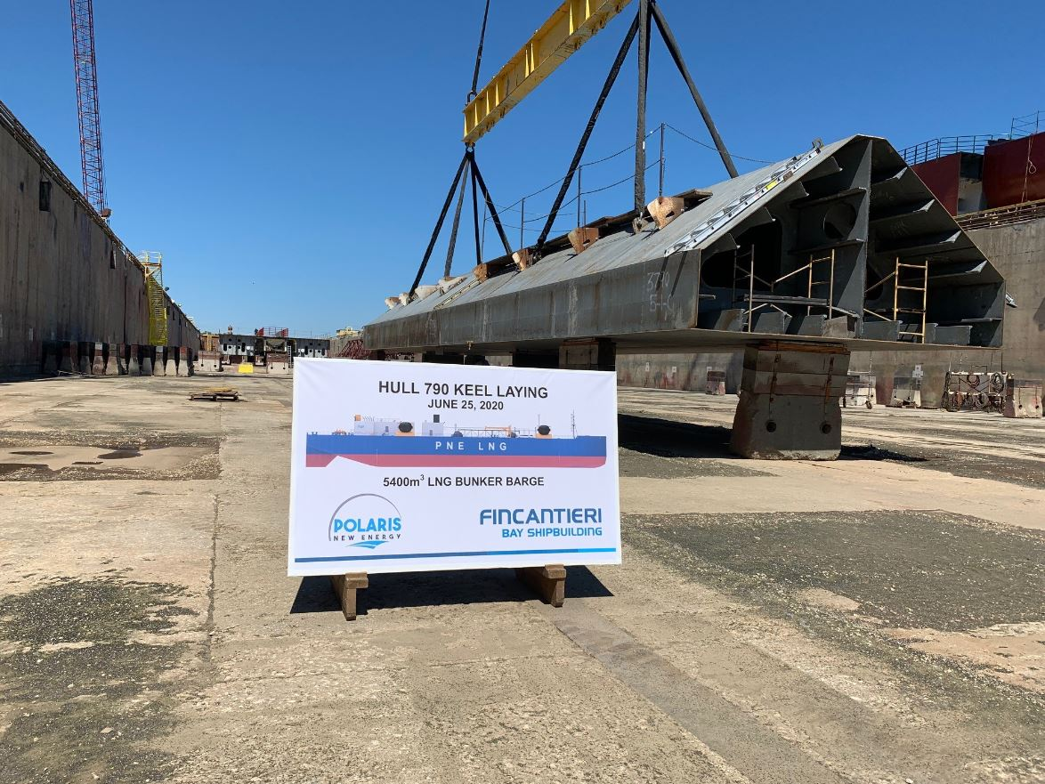 Fincantieri starts to build an LNG bunkering barge for NorthStar