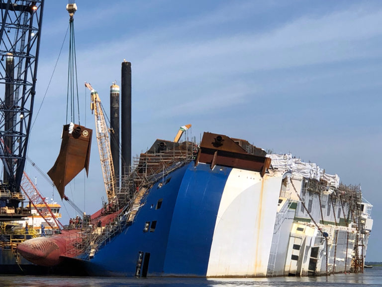 Removal of Golden Ray suspended amid COVID-19 outbreak