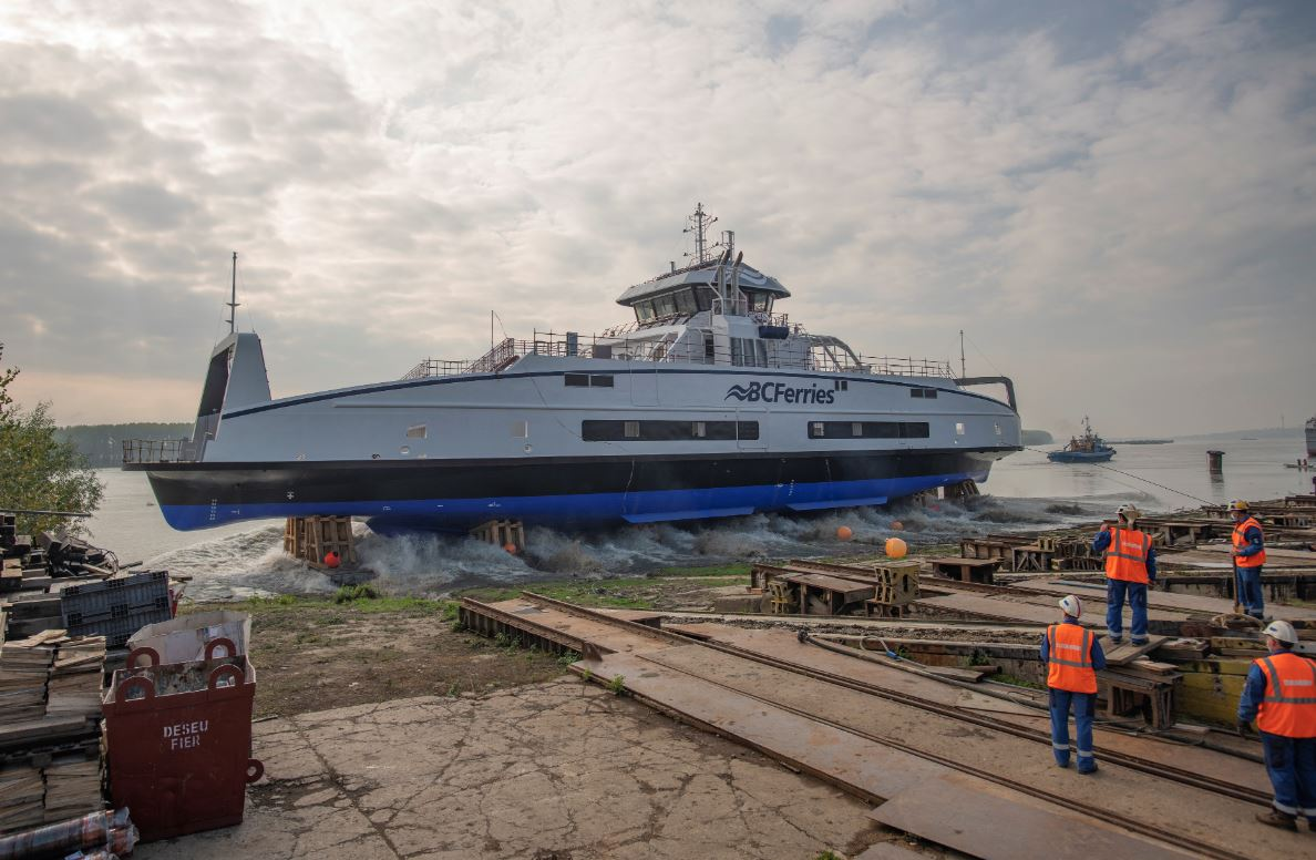 Damen Shipyards launches 3rd hybrid-electric vessel for BC Ferries
