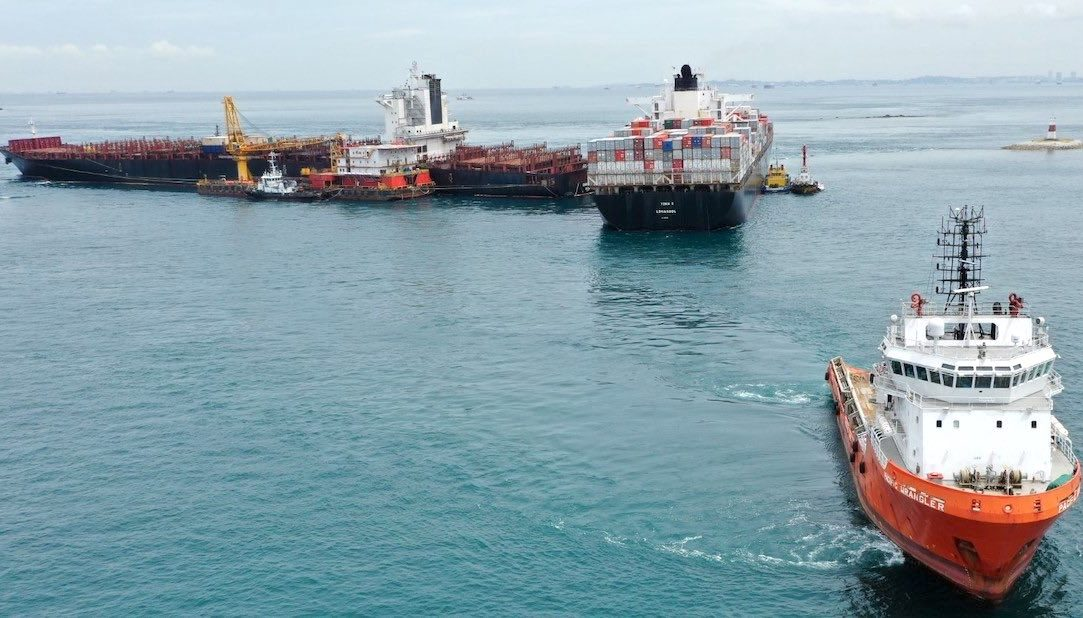 Technomar boxship heads for repairs after refloating