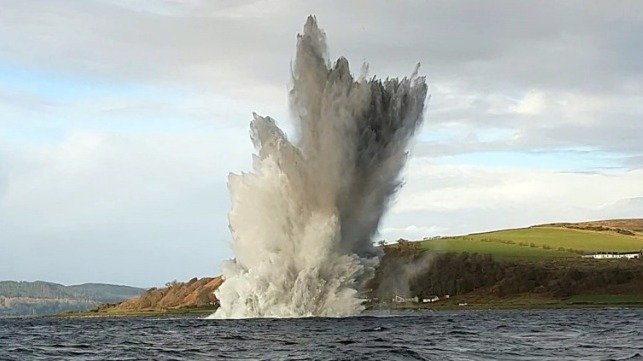 Royal Navy bomb disposal experts detonated WWII-era mine