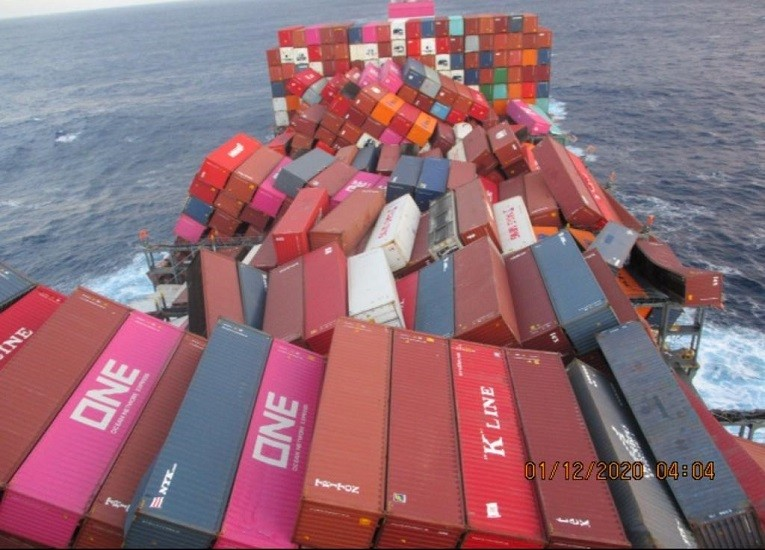 ONE APUS suffers container stack collapse in Mid-Pacific