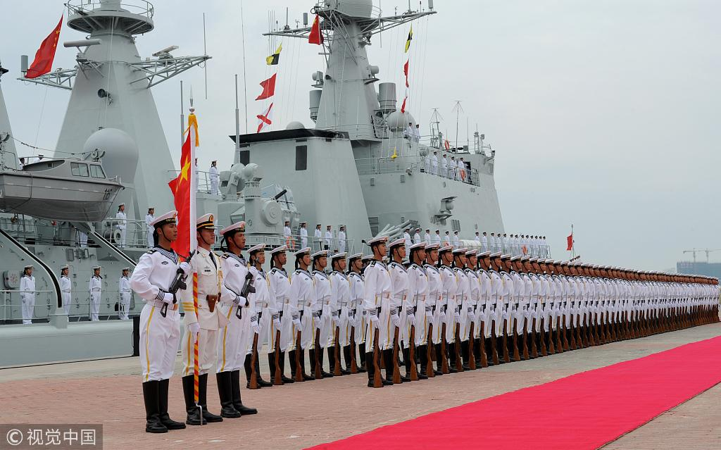 Chinese Navy conducts military exercise around Hainan Island