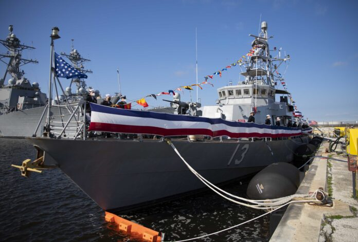 US Navy holds decommissioning ceremonies for three coastal patrol boats