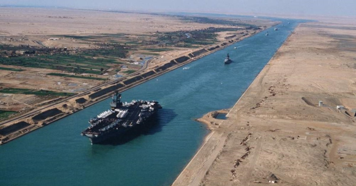 Ultra large container ship ran aground on the Suez Canal