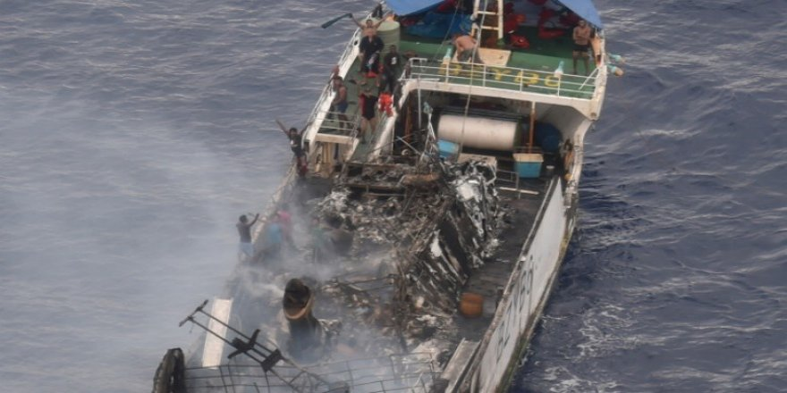 Chinese vessel caught fire, 18 seamen rescued