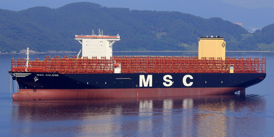 The world's largest container ship passed through Suez Canal