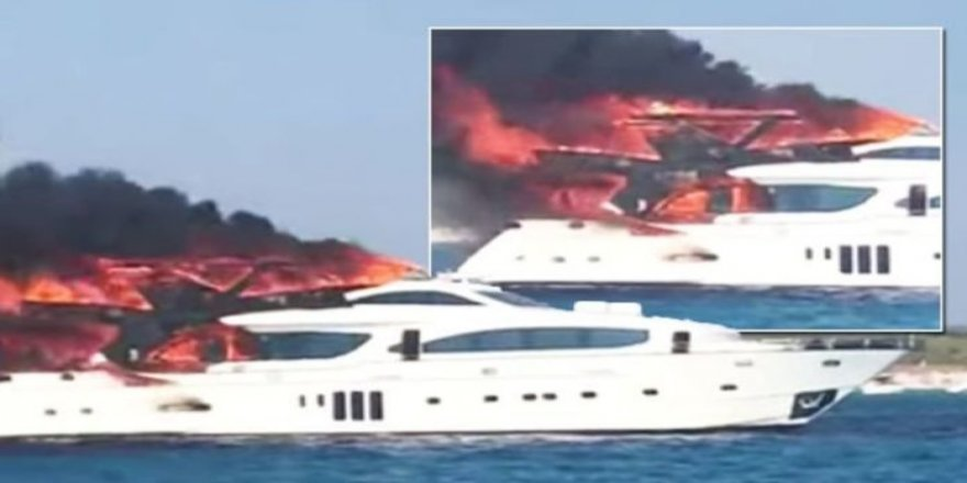 Luxury yacht burned out in Spain