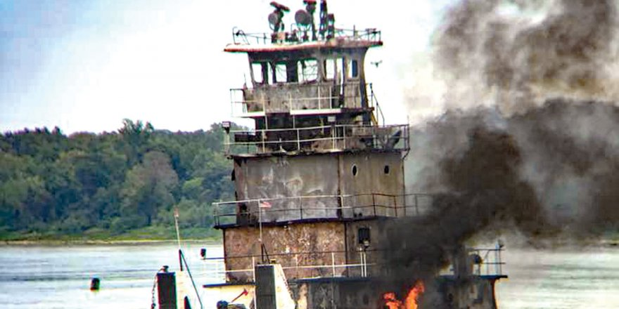 Towing vessel fire on the lower Mississippi River