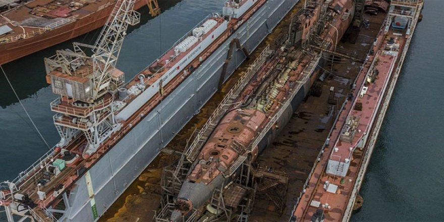Floating Dock with submarine sank in Black Sea, Sevastopol