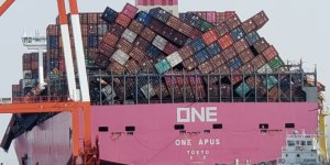 Japanese-flagged containership ONE Apus berths in Port of Kobe