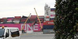 Process of removing collapsed container stacks from ONE Apus continues