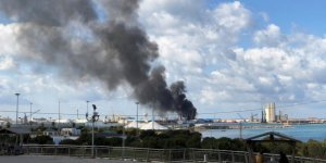 The port of Tripoli was struck by projectiles